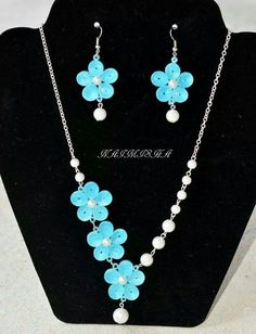 Flower jewelry set with pearl beads. Craft ideas from LC.Pandahall.com