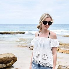 Outfit Inspiration: Forever New white lace off the shoulder top, Forever New denim shorts and Mimco sunglasses. Follow @jayde_archives on Instagram.