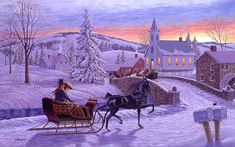 Old-Fashioned Winter Christmas Scenes | An Old Fashioned Christmas Painting - An Old Fashioned Christmas Fine ...