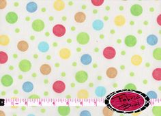 PASTEL DOTS on White Fabric by the Yard Half Yard or by FabricBrat