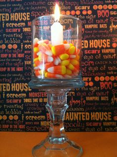 How to Make Candle Holders. Can use for all holidays or any event: Conversations hearts, jelly beans or other theme colored candy.