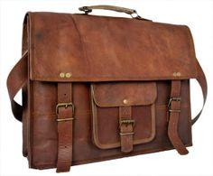 """15"""" Eco-friendly Vintage Leather Briefcase/ Messenger Bag/ Crossbody Bag/ Laptop Bag / Shoulder Bag/ Men's Bag in Brown"""