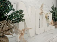 Cottage Chic Ivory Distressed Free Standing NOEL by StellaMinded, $38.00