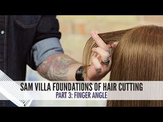 Hair Cutting Foundations Part Finger Angle / Sam Villa - Professionals Hair Cutting Videos, Hair Cutting Techniques, Unique Hairstyles, Up Hairstyles, Medium Hair Styles, Short Hair Styles, Face Framing Layers, How To Cut Bangs, Layered Haircuts