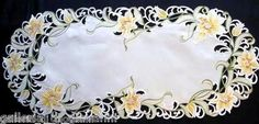 """Lily Flower White Lace Runner 27"""" Doily Floral Yellow Flowers 