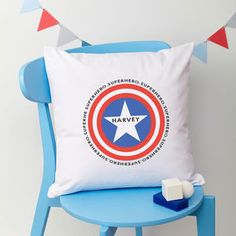 Boys Personalised Superhero Cushion by TillieMint, the perfect gift for Explore more unique gifts in our curated marketplace. Childrens Bedroom Accessories, Diaper Bag, Unique Gifts, Cushions, Throw Pillows, Superhero, Cards, Baby, Handmade