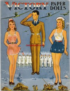 1943 US Victory Paper Dolls World War II. Restored from the 1943 book, this set represents all branches of the services with a big wardrobe of clothes for six dolls. 10 page, 8 x 11 inch booklet with easy-to-cut cardstock covers.