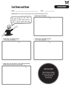 Stress management worksheets & infographic Cool Down and Draw Worksheet - Part of Mindful Practices' newest book 'C. Counseling Worksheets, Therapy Worksheets, Counseling Activities, Therapy Activities, School Counseling, Therapy Ideas, Play Therapy, Culture Activities, Art Therapy