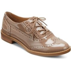 Franco Sarto Wing Tip Lace-Up Oxfords (60 CAD) ❤ liked on Polyvore featuring shoes, oxfords, lace up oxfords, wing tip oxfords, laced shoes, taupe shoes and wingtip oxford shoes
