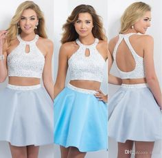 Beautiful 2015 Sexy Homecoming Dresses Halter Open Back Sweet Sixteen Dress Short Two Pieces Prom Dress With Beads Stain Party Gown Olesa Online with $124.61/Piece on Olesa's Store | DHgate.com