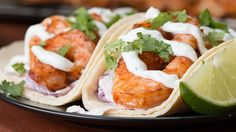 Grilled Shrimp Tacos With Creamy Cilantro Sauce Recipe by Tasty Grilled Shrimp Tacos, Grilled Shrimp Recipes, Seafood Recipes, Dinner Recipes, Seafood Dishes, Grilling Recipes, Cooking Recipes, Cooking Videos, Food Videos