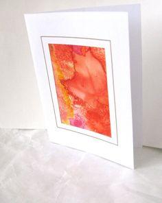 Hand painted orange leaf silk card by SilkDesignByJane on Etsy