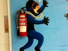 Fire extinguisher wall art