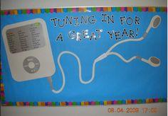 Back to school bulletin board - write students' names on iPod screen