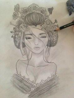 Geisha by me  Art Dibujo a carboncillo  Draw