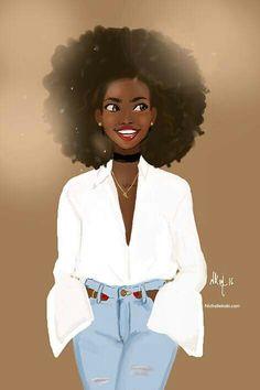 Afro art by Nicholle kobi Black Love Art, Black Girl Art, My Black Is Beautiful, Black Girls Rock, Black Girl Magic, Art Girl, Black Girl Cartoon, Natural Hair Art, Natural Hair Styles