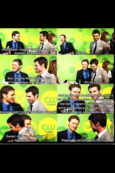 """""""This piece of information is a revelation to me."""" - Daniel. He didn't know. How sweet of him! Hahaha (Joseph Morgan and Daniel Gillies)"""