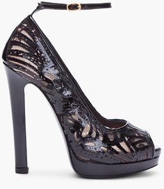 Alexander Mcqueen Black Laser Cut Leather Heels     dressmesweetiedarling