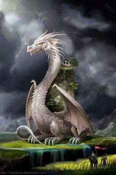 White Dragon Fantasy Myth Mythical Mystical Legend Dragons Wings Sword Sorcery Art Magic