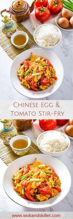 Chinese Egg and Tomato Stir Fry Chinese Egg and Tomato is a simple yet flavorful dish straight from the Chinese home kitchen. Fluffy scrambled eggs pair perfectly with the sweet and savory flavors of the tomato. Turkey Recipes, Fish Recipes, Lunch Recipes, Asian Recipes, Breakfast Recipes, Vegetarian Recipes, Dinner Recipes, Healthy Recipes, Asian Foods