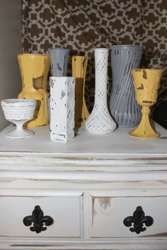 Set of 8 Shabby Chic Yello Grey and White by TheSpeckledEgg2011, $40.00