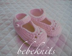 Hand Knit Baby Christening Slippers by bebeknits on Etsy