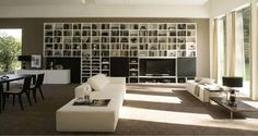 Logo 250 Wall Unit with Bookcase System by Sangiacomo, Italy has Mat lacquered Artico bookcase, sliding doors in Graffiato Nero. Manufactured By San Giacomo.
