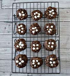 Rocky Road Cookies - chocolate cookies with chocolate chips, almonds, walnuts and marshmallows