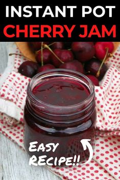This Instant Pot Cherry Jam is so incredibly easy to make. Making jam in your instant pot is such an easy delicious treat.  The consistency is a bit thinner than traditionally made jams and is absolutely yummy! Pin for Later! Fall Recipes, Great Recipes, Yummy Treats, Yummy Food, How To Make Jam, Craft Party, Light Recipes, Food Gifts, Kitchen Recipes