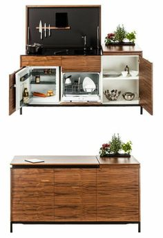 A kitchenette is a mini-kitchen that at minimum usually has a fridge and a microwave, but some designs pack an impressive amount of functions into a small spa Kitchen Design Open, Kitchen Layout, Interior Design Kitchen, Modern Interior, Micro Kitchen, Compact Kitchen, Kitchen Small, Space Kitchen, Small Room Design