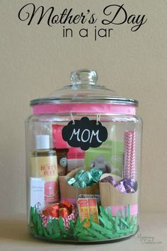 #DIY Mother's Day. Put together a jar filled with her favorite things. Head here for the crafty details.