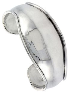 Sterling Silver Cuff Bracelet Domed & Curved with Raised Edge Handmade 7.25 inch