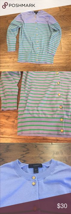 J. Crew Cardigan w/ Anchor Buttons Light lavender with green stripes. Cardigan from J. Crew. Gold anchor buttons. Three quarter length sleeves. Size Medium J. Crew Sweaters Cardigans
