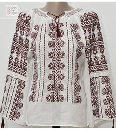 ii romanesti traditionale de vanzare, ie brodata manual Teacher Style, Embroidered Blouse, Filet Crochet, Cross Stitch, Bell Sleeve Top, Bohemian, Costumes, Embroidery, My Style