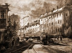 Life In The City by Mikhail Savchenko City Drawing, Artist At Work, Artists, Wall Art, Drawings, Painting, Life, Artist, Painting Art