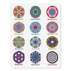 Kaleidoscope Namaste Set 2 Temporary Tattoos. 40% OFF Temporary Tattoos – Use CODE: GREATZAZDEAL until Midnight 4-3-18. Twelve Terrific Temporary Tattoos that feature Kinetic Collage kaleidoscope compositions created from special effects performance art screen capture images. The greeting Namaste expresses your wish to honor the light in others as they do in you. Mix and match one or more of these cool tats with your Namaste Kaleidoscope T-Shirt or Tote Bag! Plus see more at my Zazzle store.