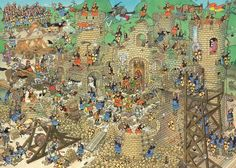 Castle Conflict - Jan van Haasteren Jigsaw Puzzle from Jumbo Dragons, Wheres Wally, Picture Writing Prompts, Château Fort, Mosaic Wall Art, Medieval Times, Creative Pictures, Medieval Castle, Cartoon Art Styles