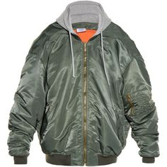Vetements Oversized hooded bomber jacket (39.110 ARS) ❤ liked on Polyvore featuring men's fashion, men's clothing, men's outerwear, men's jackets, khaki, mens shell jackets, mens zip up jackets and mens khaki jacket