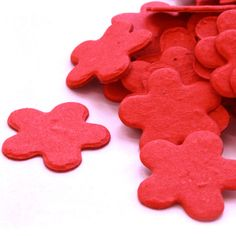 Bright Red Flower Shaped Plantable Confetti. #recycled #daisygiggles