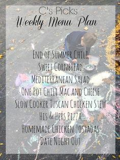 C's Weekly Menu Plan - A Life from Scratch.  You can find all these great menu plans and recipes on the BLOG.