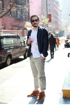 Steet shot of Visvim founder/designer Hiroki Nakamura