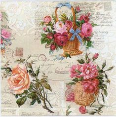4 Vintage Papel Servilletas Para Decoupage almuerzo DECOPATCH parte Corazón con Flores