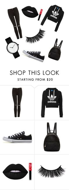"""black♡♡"" by adelina-sandu ❤ liked on Polyvore featuring Topshop, Converse, STELLA McCARTNEY and Lime Crime"