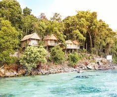 Woke up in paradise  #cambodia #koh #rong #samloem #kohrong #bungalow #hut #jungle #green #tropical #paradise #island #beautiful #photography #travel #traveling #backpack #backpacking #blog #saltinourhair