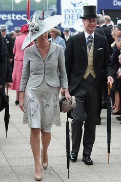 """Countess of Wessex - elegant in grey at the Investec Derby Festival at Epsom. Sophie is wearing a Katherine Hooker Jacket and the """"Buxton"""" dress. Her shoes are LK Bennett Sledge and her clutch is UFO."""