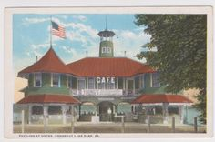Conneaut Lake Park PA Young's Cafe at the Boat Pavilion on the Docks at Exposition Park