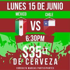 Listos este lunes para disfrutar del partido de México, apoya a la selección tenemos pantallas, sonido estéreo te esperamos en el Bebedero!!!!