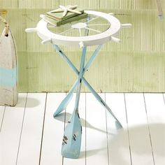 A wonderful and functional accent piece for your beach house or coastal decor Ships Ahoy Accent Table has three distressed blue