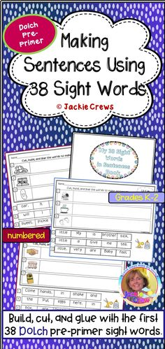 DIGITAL & PRINTABLE! If your students need more exposure to the Dolch pre-primer sight words, this might be helpful to you. This is a build, cut, and glue resource with the first 38 Dolch pre-primer sight words. NEW: Each set of sentence mix-ups is now numbered (on the PDF printable pages) as well as within the spaces they are to be glued. I also colorful graphics on some of the pages.#Jackiecrews #kindergarten #preprimer #sentencebuilding #grade1 #Englishlearners #cut&paste #primary