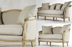 This French-inspired and hand stitched sofa and loveseat presents a country charm in natural cream linen color with its slightly flared legs. In natural oak wood finish. It also features down fill cushions for optimal comfort and includes throw pillows for easy matching. Rustic Wood Furniture, French Country Furniture, Sofa And Loveseat Set, Wingback Chair, Country Charm, Hollywood Regency, Living Room Sets, Classic Style, Love Seat